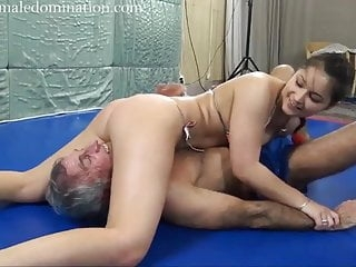 Amazon wrestling with a slave